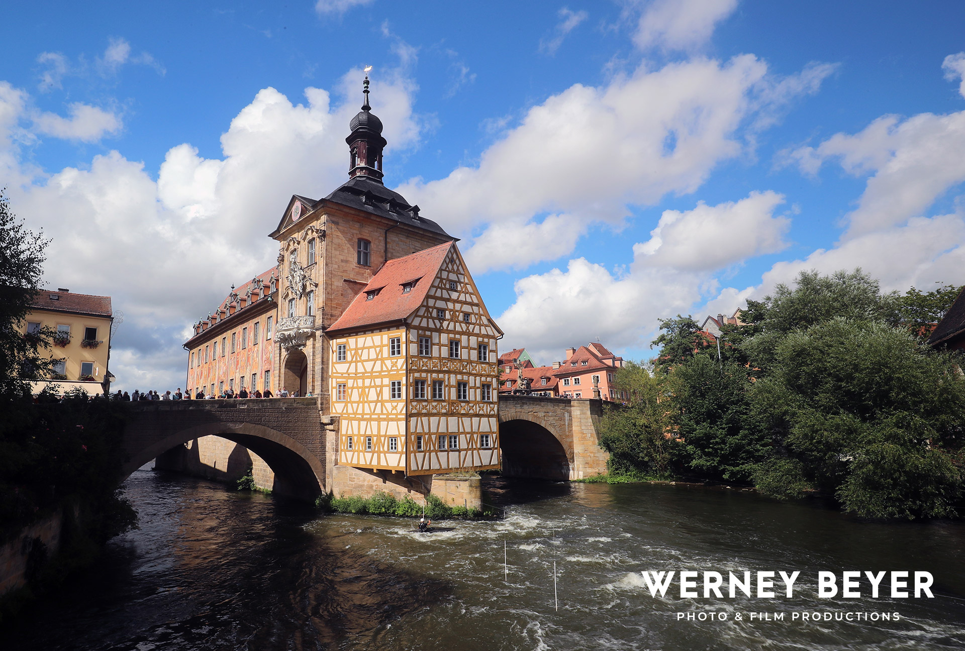 Old Town Bamberg, River regnitz, Main danube Canal, Germany#